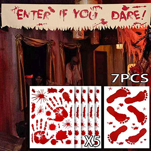 Angmart 6 PCS Bloody Halloween Window Clings and