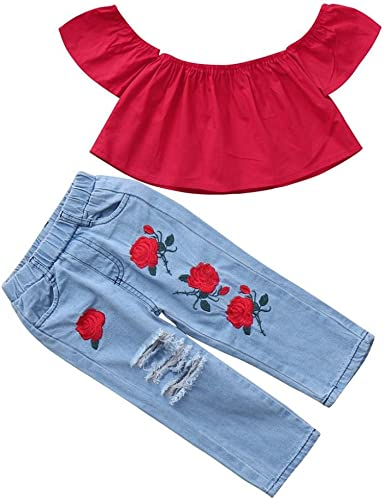 Toddler Kids Baby Girl Summer Off Shoulder Tops T-shirt Long Pants Jeans Clothes