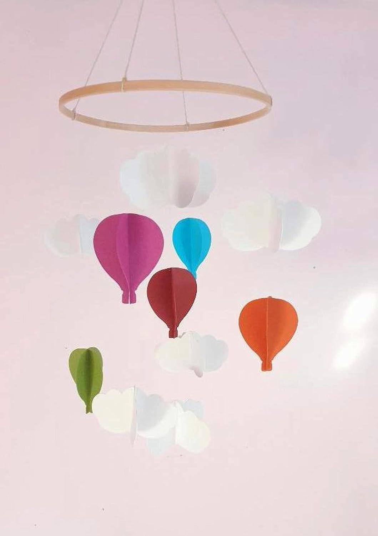 Móvil para bebés, Globos aerostáticos y nubes, Móvil para bebés, Regalo de nacimiento, Estilo escandinavo, Decoración de la habitación de los niños