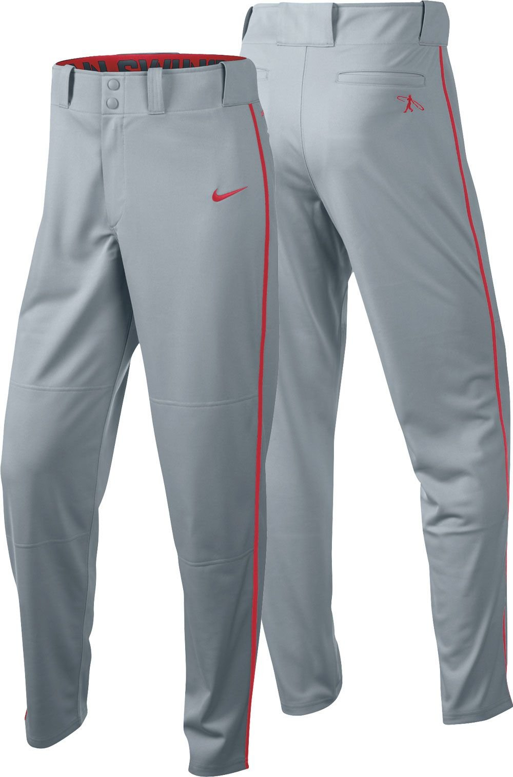 Nike Boys Swingman Dri-FIT Piped Baseball Pants (Grey/Red, Large) by Nike (Image #1)