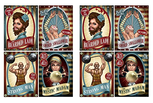 Beistle 54982 Vintage Circus Poster Cutouts (8 Piece), 15.25