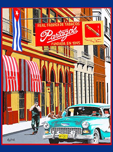 A SLICE IN TIME CIGAR CIGARS PARTAGOS REAL FABRICA DE TABACOS CUBA CUBAN HAVANA HABANA CARIBBEAN TRAVEL ART Home Decoration Collectible Wall Decor POSTER Print. Measures 10 x 13.5 inches.
