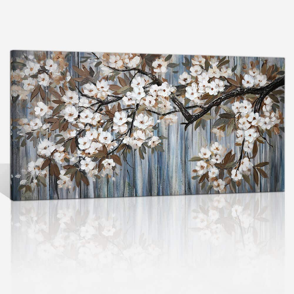 Large Canvas Wall Art for Living Room Wall Decor Abstract White Flower Tree with Gray Driftwood Picture Modern Framed Canvas Prints Artwork Ready to Hang for Bedroom Home Wall Decoration size 24x48