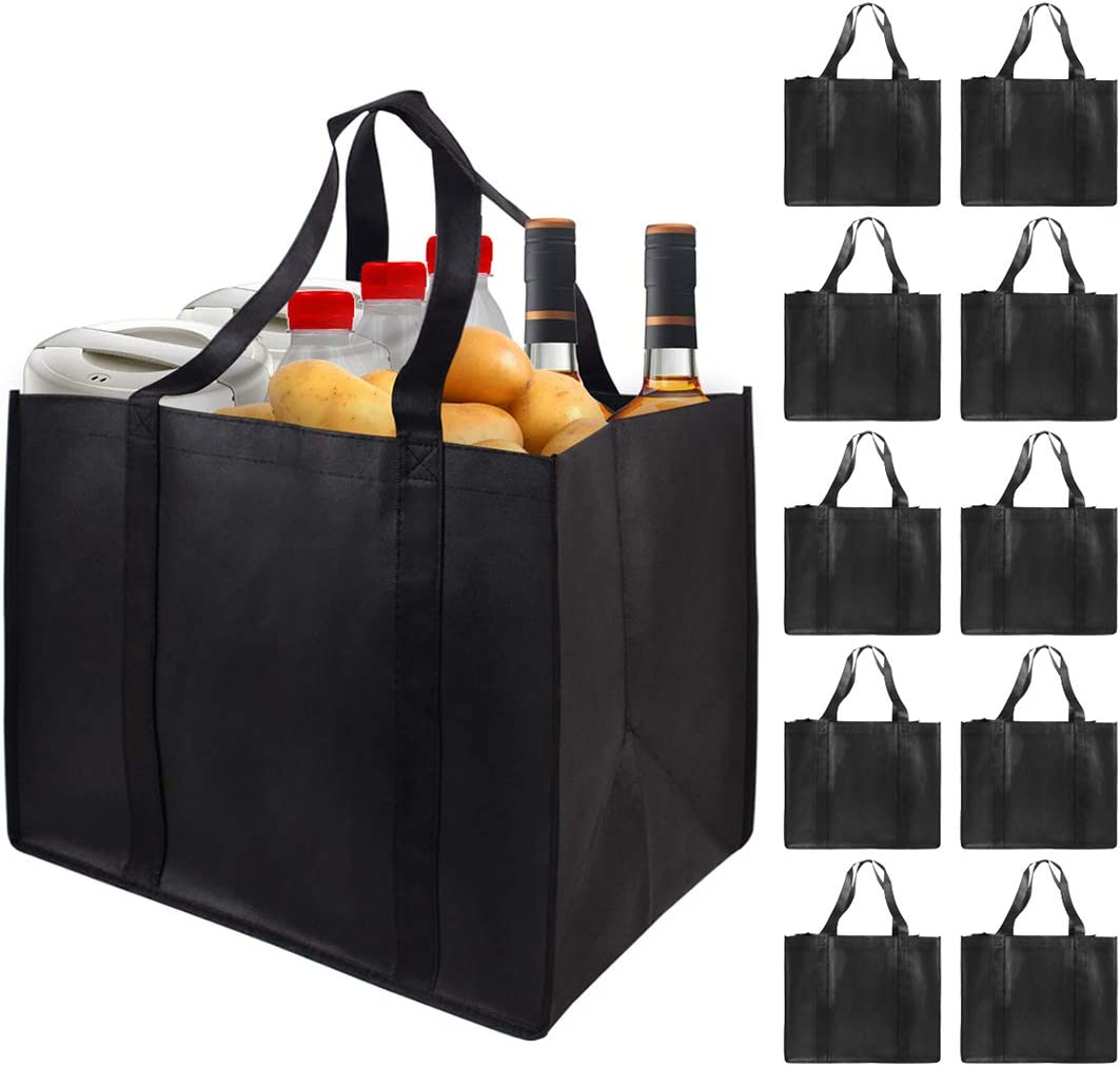 10 Pieces Reusable Grocery Bags Set Hold 40+lbs Large Shopping Bags Grocery Bags with Reinforced Handle
