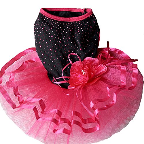 Topsung Pet Blingbling Tutu Dress Red&Black Lace Dog
