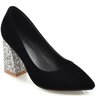 b7efc46b146 KingRover Women s Elegant Pointed Toe Slip on Commuter Shoes Low Cut Sequins  High Block Heel Pumps