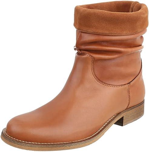 Komfort Stiefeletten Leder Damen Schuhe Schlupfstiefel