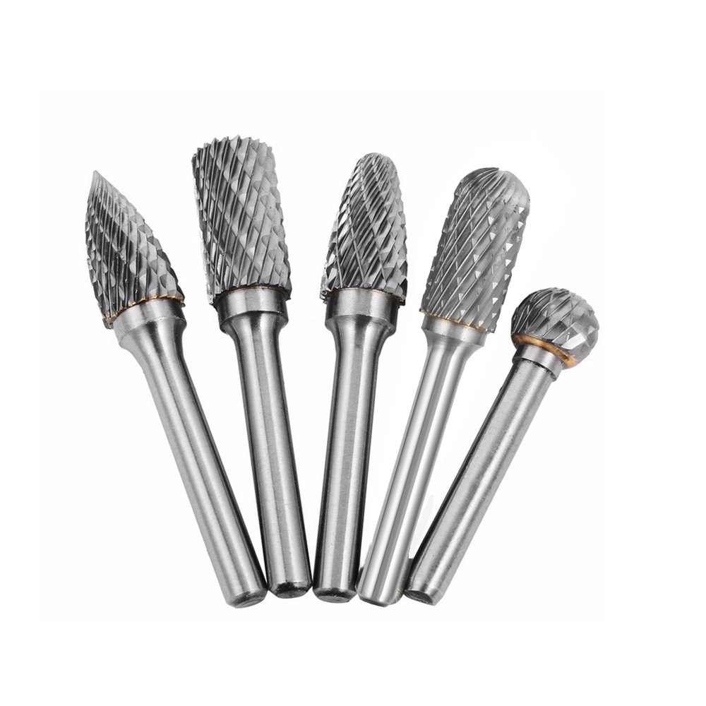 Carbide Burr 5pcs 12mm Dia 1/4'' Rotary Burr Cutting Burs Die Grinder Bits (Type1)