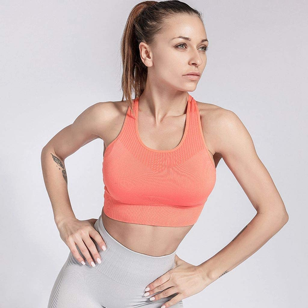 ohlyah Womens Seamless Strappy Padded Sports Bra Workout Gym Yoga Bras