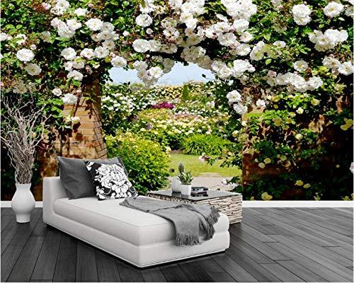Weaeo 3D写真の壁紙ローズコリドール牧歌的な花壁画のベッドルームリビングルームソファテレビ壁の壁紙3D-280X200Cm B07H8LWDV4