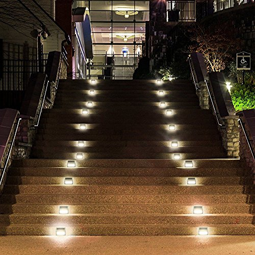 Attirant ELECCTV 6 Pack Solar Step Lights 3 LED Solar Powered Stair Lights Outdoor  ...
