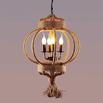 XQY Lámpara de Techo en la Sala de Estar, lámpara de cáñamo ...