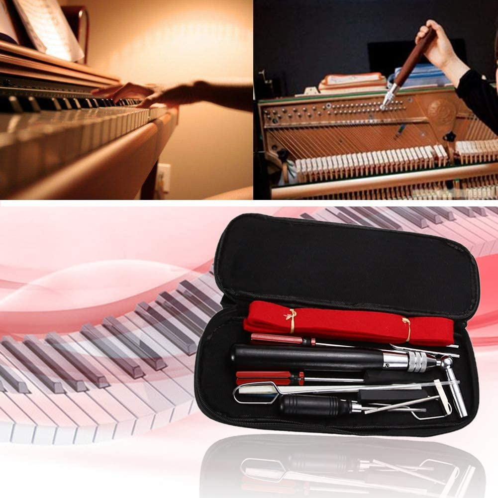 NO LOGO FMN-Home 1set 13 en 1 Piano Tuning Marteau Laine Mute Temp/érament Strip Poin/çon Outils Outils Set Kit for Piano Tuning R/éparation