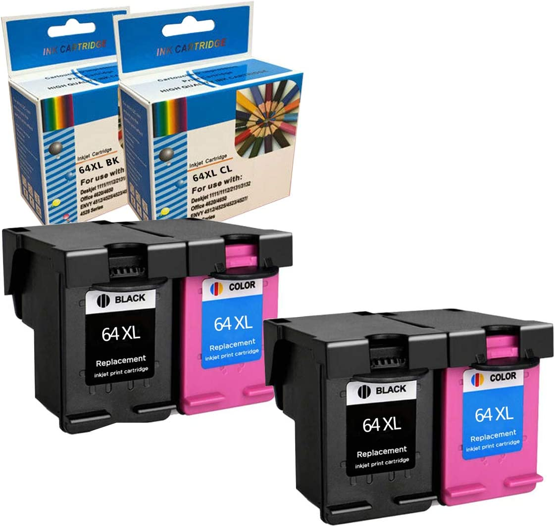 7158 7155 7120 7130 6252 7164 6255 7858 7855 6232 2 Black+2 Color, 4 Pack 6258 7820 7800 M-online Re-Manufactured Ink Cartridge Replacement for HP 64XL Envy Photo 6220 6230