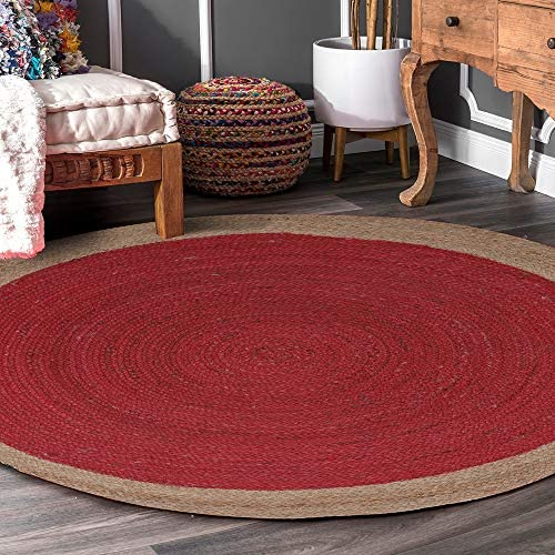 Value Unlimited Hand Woven Natural Jute Area Rug Handmade Jute Area Round Shaped Rug Fiber Area Rug Centre In Red And Outer In Natural Color Plain Pattern Bohemian Style 3 Ft