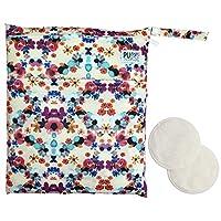 Pumping Mom Bundle: Wet Dry Bag for Pump Parts + 2 Washable Nursing Pads (Flo...
