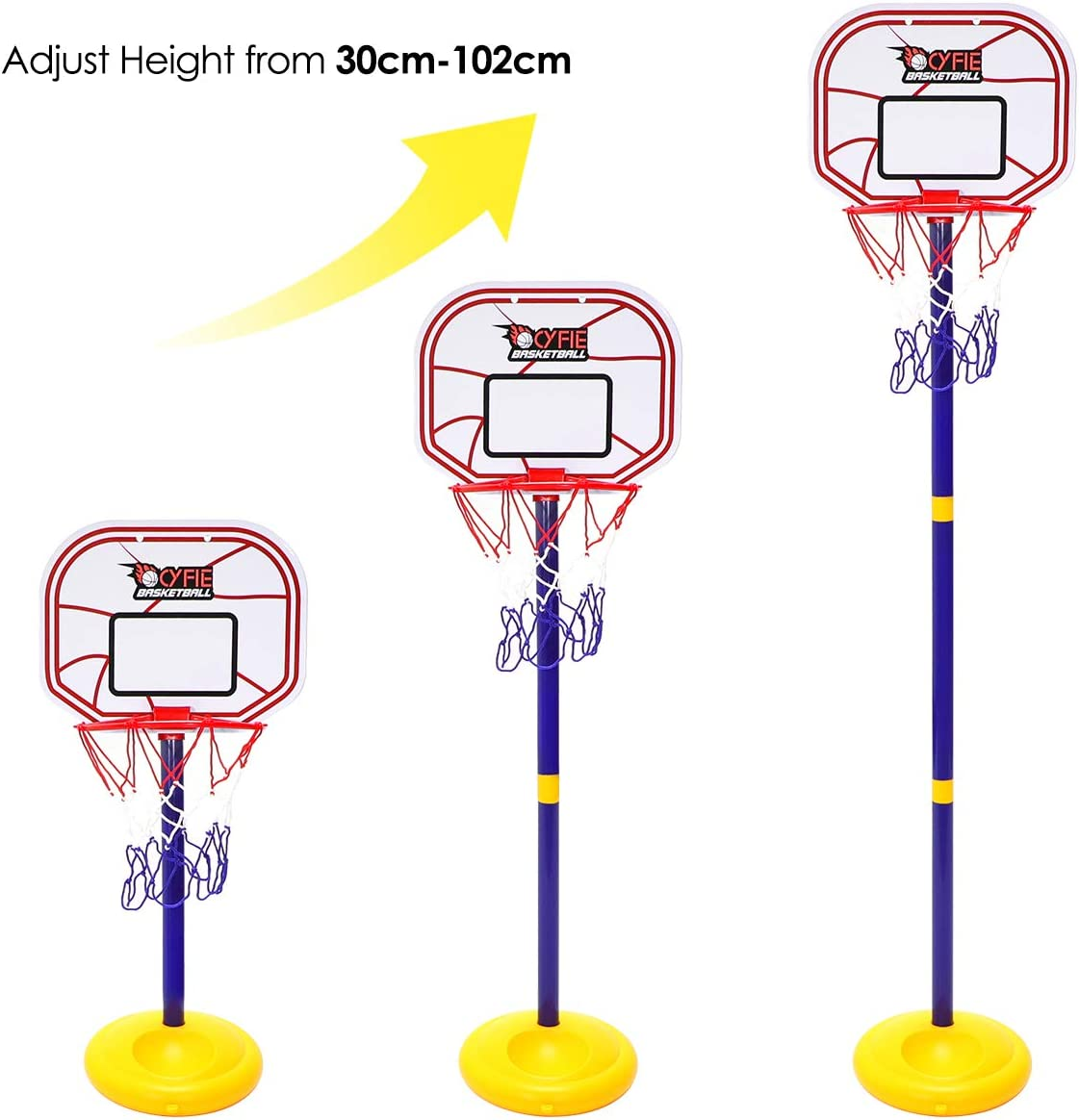 CYFIE Basketball Hoop Set with Stand Base Adjustable Basketball Stand Basketball Rack Toy Outdoor Indoor Sport Game Play Set