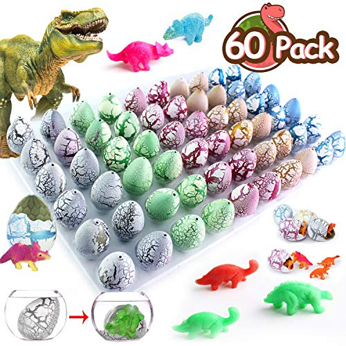 Duperym 60 Pack Crack Easter Dinosaur Eggs Hatch in Water Grow Eggs Novelty Magic Filled with Mini Dino Toys Learning Easter Basket stuffers Toys Easter Birthday Party Favors Supplies Gifts -