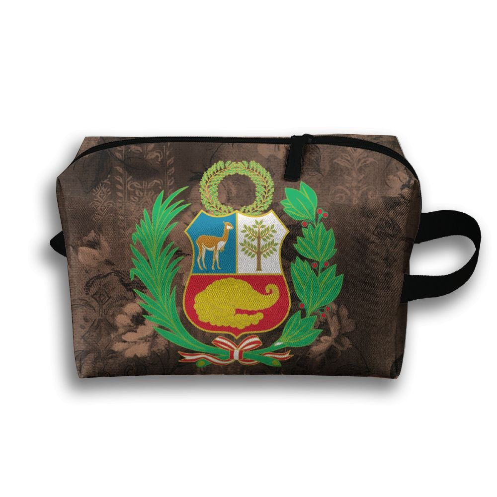 Stylish Peru Coat Of Arms Travel Multifunction Toiletry Organizers Makeup Pouch Cosmetic Bag Business Bag For Women Girls