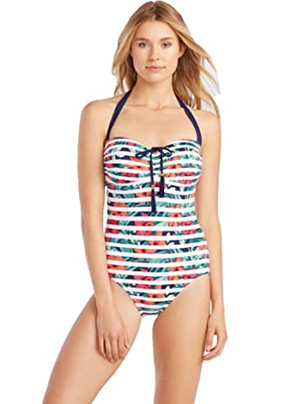 75cd6239dfe9f Tommy Bahama Breton Blooms Tummy Control Halter One Piece Swimsuit 8  Multi-Color at Amazon Women's Clothing store: