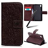 Sony Xperia XA1 Ultra Case,Sony Xperia XA1 Ultra Stand Case,Xperia XA1 Ultra Wallet Flip Case,SKYMARS Sunflower Beautiful Art Painted Pattern Embossing PU Leather Fold Wallet Pouch Case Flip Stand Credit Card ID Book Style Protective Case Cover for Sony Xperia XA1 Ultra Sunflower Brown