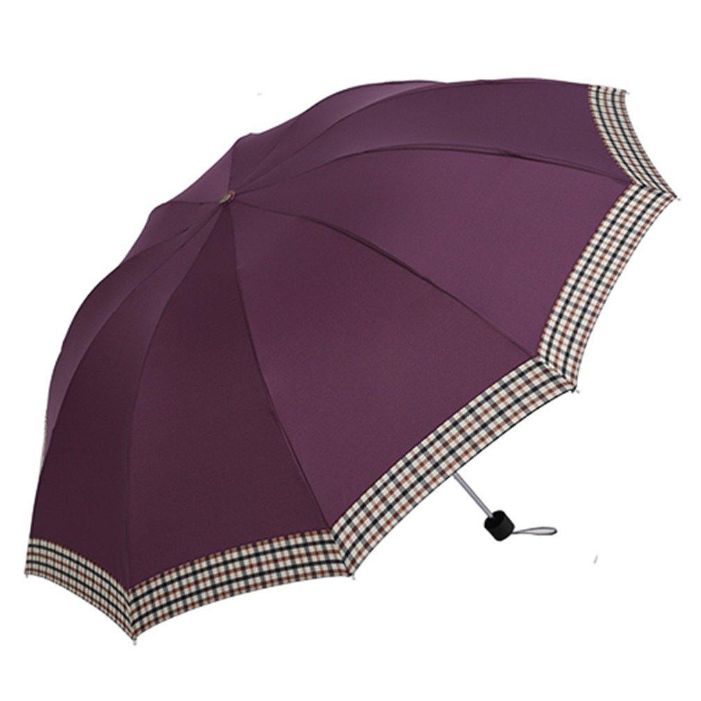 Guoke The Folding Umbrella Grid 10 Bones Reinforced Wind King-Size Double Fine Rain With Two Umbrellas, Deep-Purple