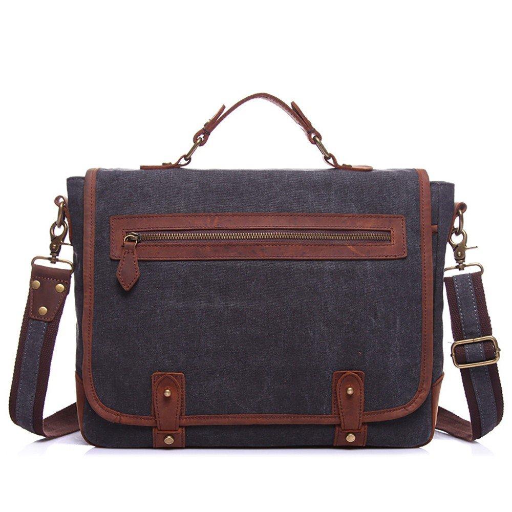 Männer Retro-beiläufige Segeltuchtasche mit Lederaktentasche tragbarer Schulter Messenger Bag