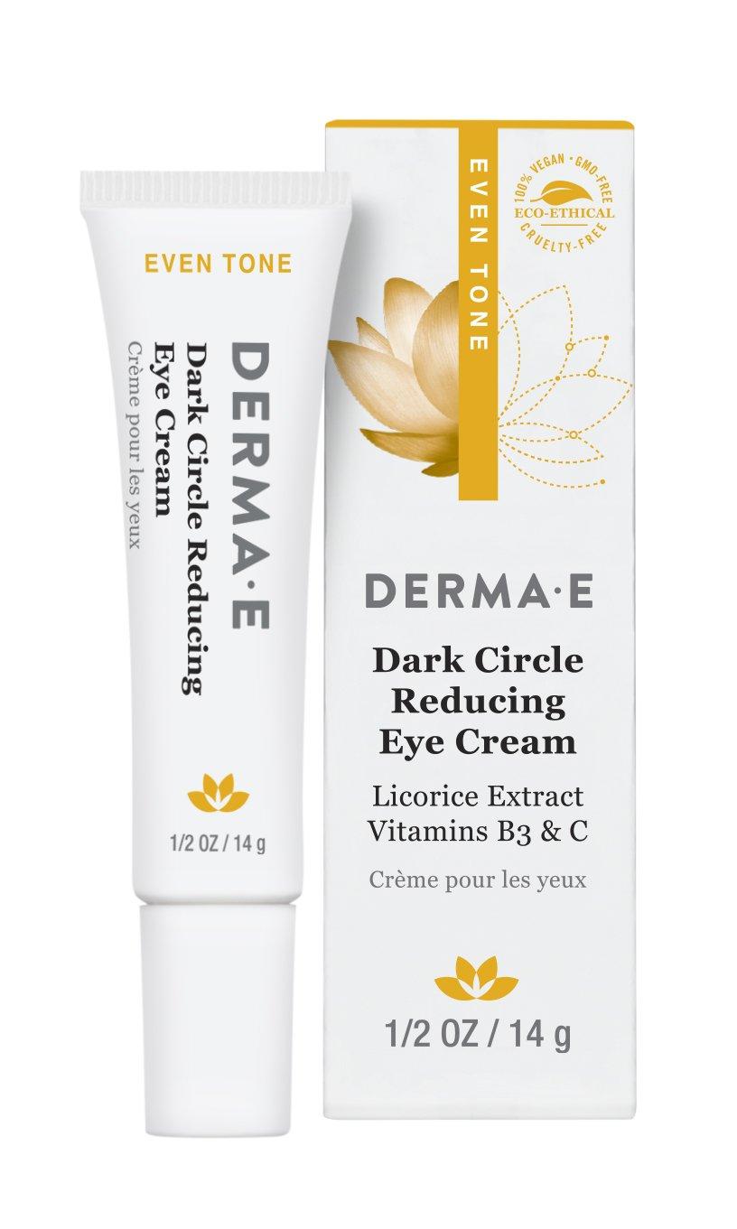 DERMA E Dark Circle Reducing Eye Cream with Licorice Extract Vitamins B3 & C, 0.5 oz