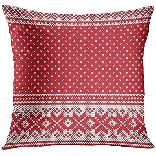 NEWcolor Sofa Cushion Red Fair Jacquard Fairisle Wool Knitting Pattern White Isle Nordic Decorative Pillow/Pillowcase