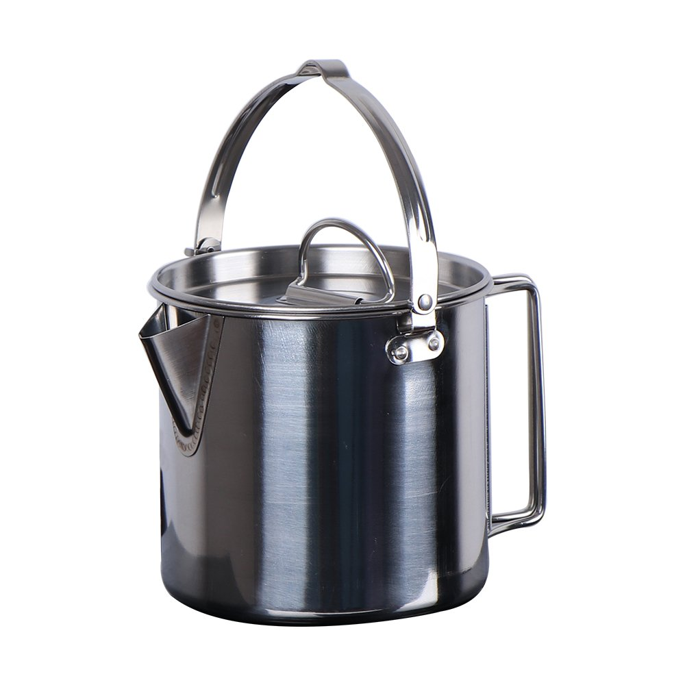 Chihee Stainless Steel Outdoor Cooking Kettle 1.2L Camping Pot for Camping Hiking Backpacking Picnic