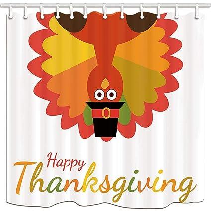 Afagahahs Cartoon Turkey Bird For Thanksgiving Day Shower Curtains Mildew Resistant Polyester Fabric Bath Curtain Bathroom