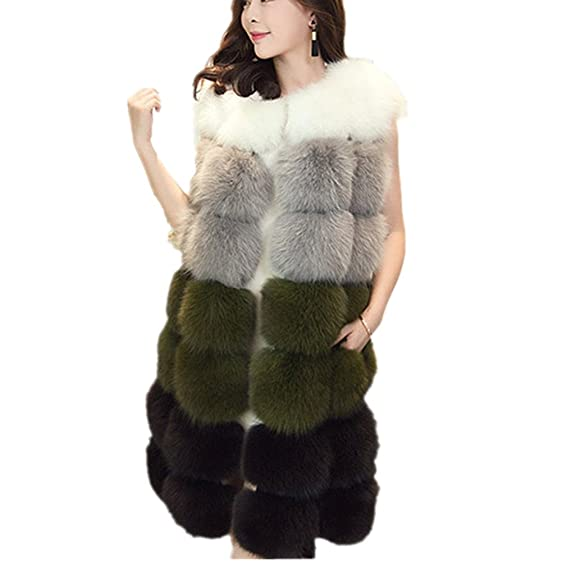 Women Winter Coat Jackets Women Faux Fox Fur Vest Brand Long Fur ...