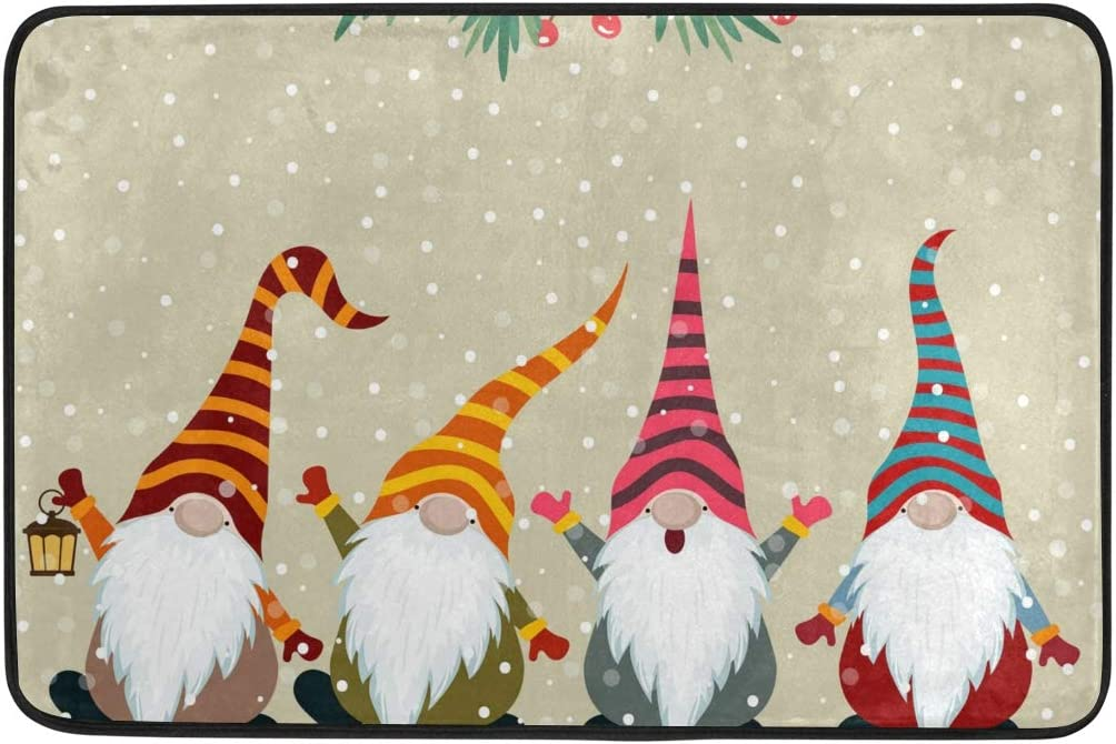 Amazon Com Christmas Bath Mat Christmas Bathroom Rugs Memory Foam Floor Mats Doormats Non Slip Christmas Card With Gnomes Kitchen Dining