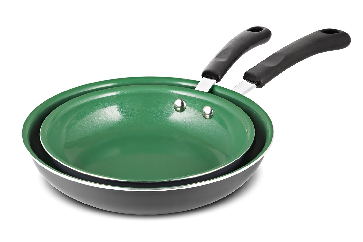 [2018 Version] Chef's Star Frying Pan Non stick Ceramic Omelette Cooking Set - Even Heat Saute Pan/Skillet Set - Supreme Frying Pans 10'' and 8'' inch Cookware Set - Green by Chef's Star