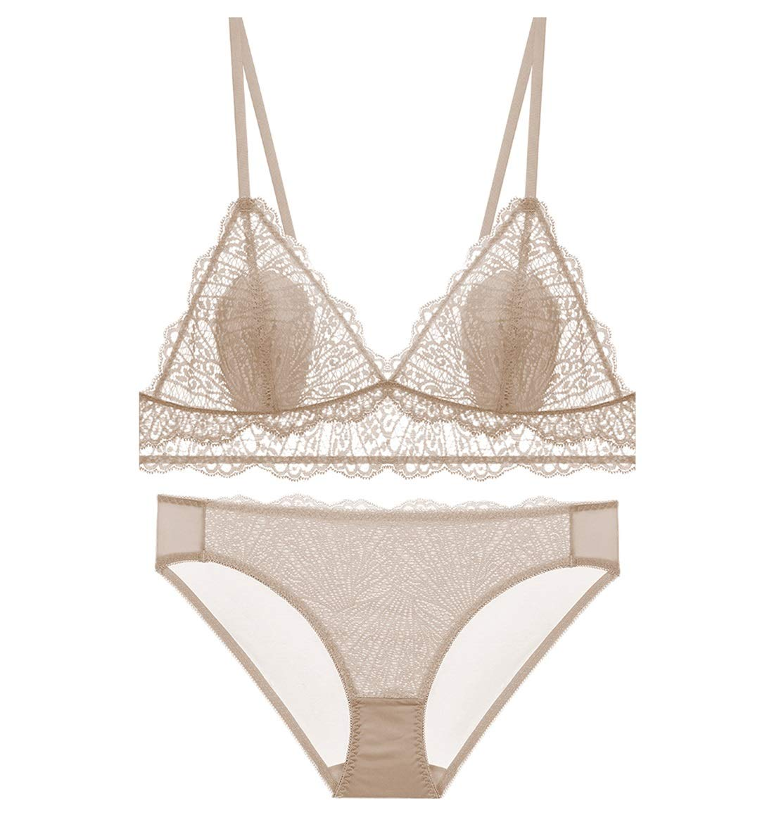 Apricot Perfect Home Bra Set Sexy French Triangle Cup Thin Section AntiBump lace Pattern, no Steel Ring, Adjust The Chest Type, Three Rows and Two Buckles. Fashion (color   Apricot, Size   70A=30A=65A)