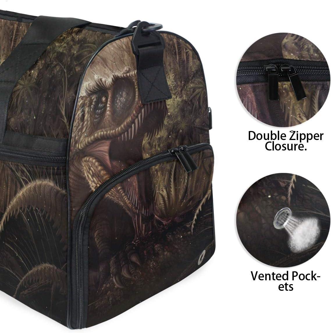 FANTAZIO Ancient Age Danger Animal Dinosaur Sports Duffle Bag Gym Bag Travel Duffel with Adjustable Strap