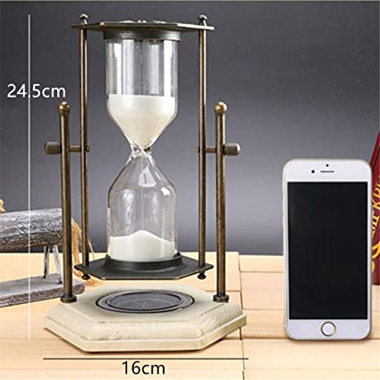 1 pack, 16X24.5cm, Rotating hourglass with compass metal antique wood sand hourglass