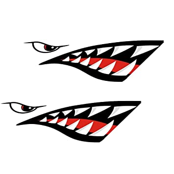 Dovewill Cool Shark Teeth Mouth Vinyl Decals Stickers For Kayaks - Cool boat decals
