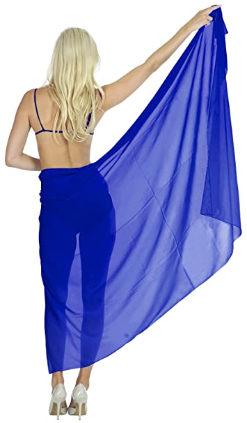 "dad82707dc16 LA LEELA Sheer Chiffon Wrap Bathing Women Sarong Solid 68""X42"" ..."