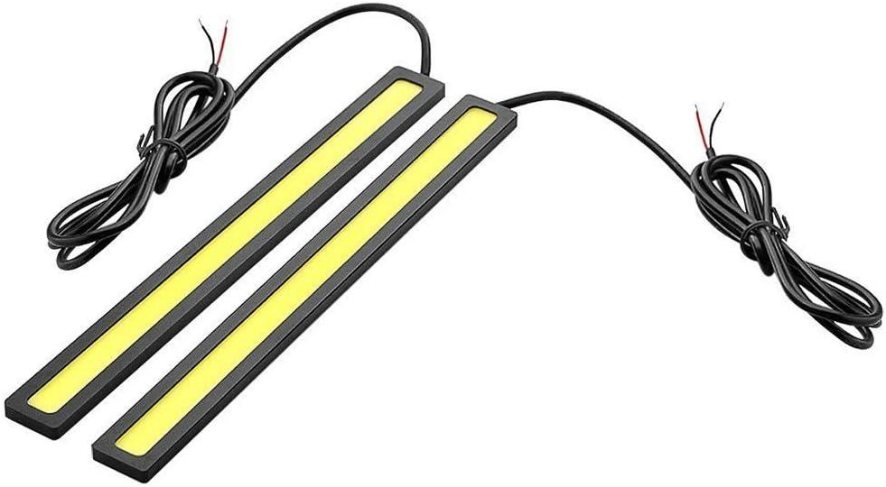 SODIAL(R)(R) 1 Par de 6W 6000K Impermeable Xenon Blanco Delgado Cob DRL LED Luz Lampara de Diurna para Coche(Negro, Amarillo)