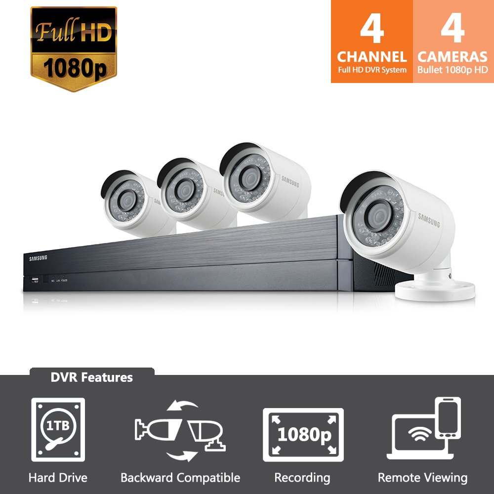 SDH-B73043 - Samsung Wisenet 4 Channel Full HD Video All-In-One Security System with 4 Bullet Cameras.