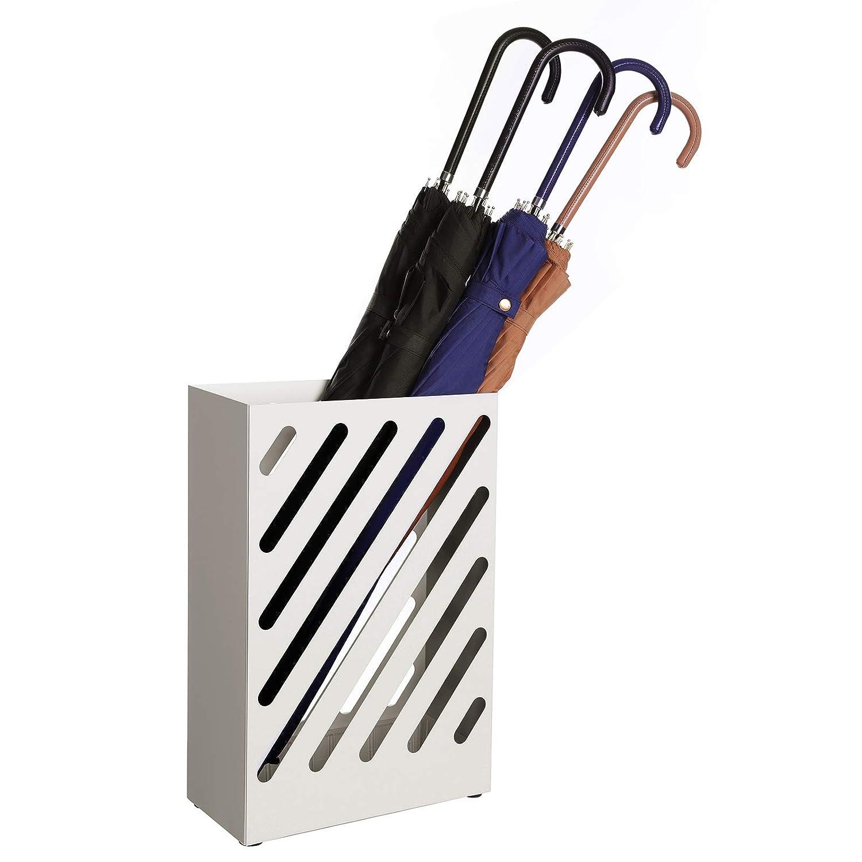 Portaombrelli Rettangolare SONGMICS Porta Ombrelli in Metallo Contenitore per Ombrelli con Vaschetta Scolapioggia e Gancetti Design Traforato Bianco LUC03WT