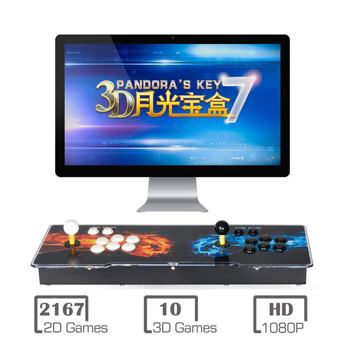3D Pandora Key 7 Arcade Console | 2177 Games Pre-loaded | Support 2D/3D Games | Add More Games | Full HD (1920x1080) Video | Support 4 Players | 2 Player Game Controls | HDMI/VGA/USB/AUX Audio Output by MYMIQEY (Image #1)