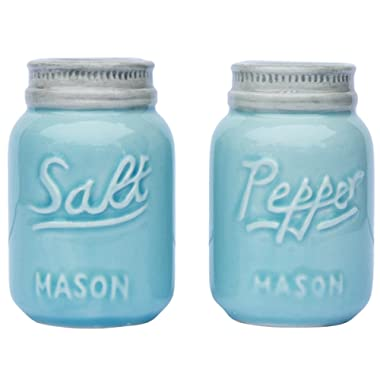 Vintage Mason Jar Salt & Pepper Shakers by Comfify - Adorable Decorative Mason Jar Décor for Vintage, Rustic, Shabby Chic - Sturdy Ceramic in Aqua Blue - 3.5 oz. Cap.