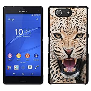 Design for Girls Plastic Cover Case FOR Sony Xperia Z3 Compact Leopard Ferocious Animal Big Cat Roar OBBA