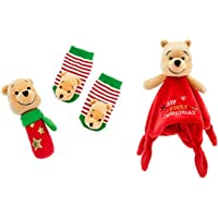 Disney Store Winnie The Pooh Rattle & Sock Set (0-6 Months) and My First Christmas Little Character Blankie ~ Great Gift…
