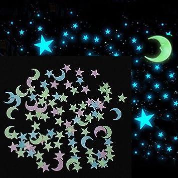 Ilovediy 300stuck Leuchtsterne Wandtattoo Babyzimmer Leuchtsticker