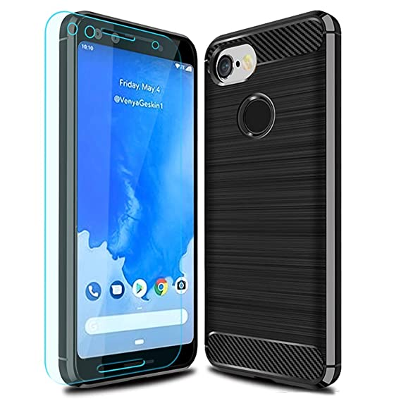 promo code 9fcce db7a5 Google Pixel 3 Case with HD Screen Protector Thinkart Frosted Shield Luxury  Slim Design for Google Pixel 3 Phone (Black)