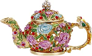 Hand Painted Teapot Trinket Box, Hinged Enameled Jewelry Box, Unique Mini Ring Earrings Jewelry Organizer, Vintage Bejeweled Storage, Figurine Collectible Keepsake Home Decor (Teapot)
