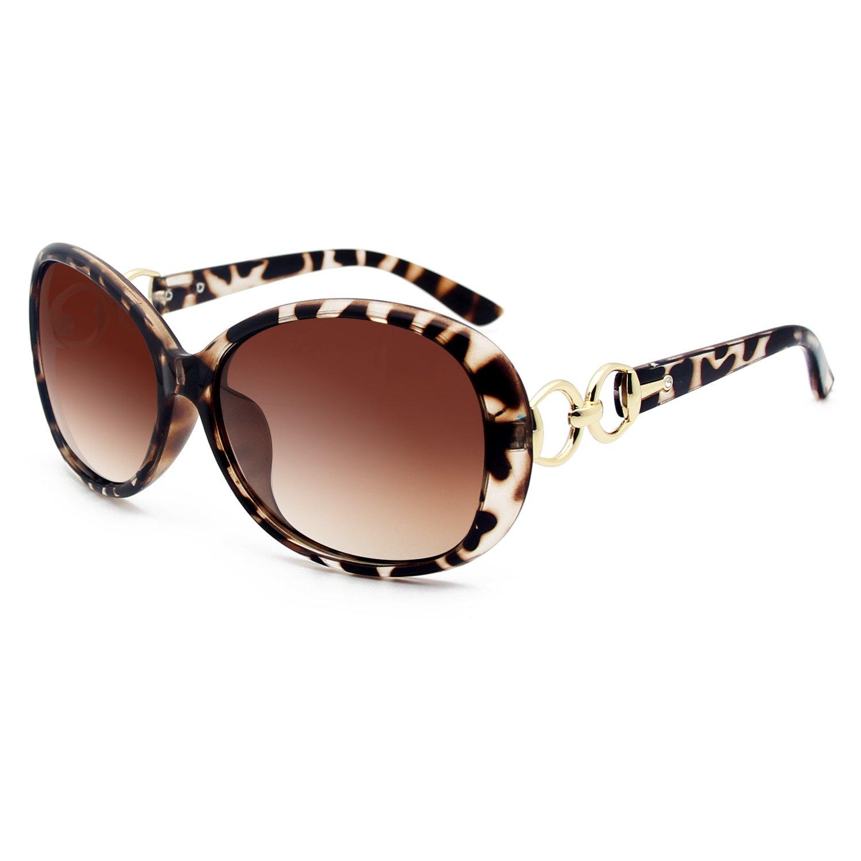 VeBrellen Luxury Women Polarized Sunglasses Retro Eyewear Oversized Goggles Eyeglasses (Leopard Frame Brown Lens, 60)